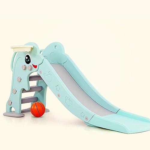 AIBAB Allonger La Lame épaisse Jouets en Plastique pour Enfants D'intérieur Petit Toboggan Rehausse De Main Courante avec Support De Basket 175 × 40 × 80 Cm