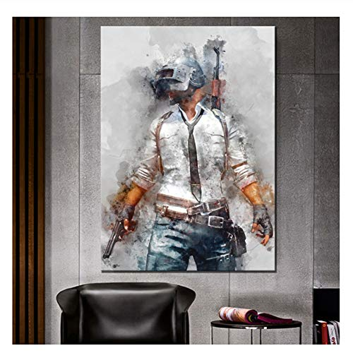 Suuyar Playerunknows Battlegrounds Game Poster Artwork Canvas Painting Wall Art for Home Decor Print On Canvas-24X32 Inch No Frame