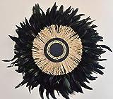 Juju Hat - Negro y Verde Plumas Rafia Cuentas - 70 cm - Decoración Pared - Boho Chic