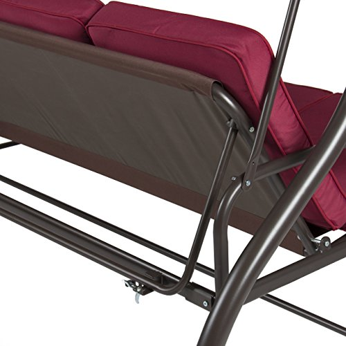 Best Choice Products Outdoor 3-Seat Canopy Swing w/Cushion, Burgundy