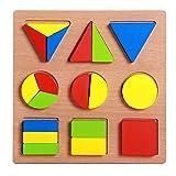 FLORMOON Puzzles de Madera para niños pequeños Conjunto de pegboard Forma geométrica Colorida Rompecabezas Preescolar Bloques Educativos Montessori Juguete para niños pequeños Edad 3+