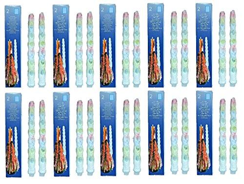 Hillfield® 20 Tropfkerzen bunt Partykerzen Spitzkerzen Dekokerzen Bunte Tropfkerze (20 Stück (10 Packs))