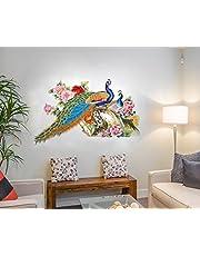 Decals Design 'Peacock Birds Nature' Wall Sticker (PVC Vinyl, 60 cm x 90 cm),Multicolour