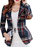 Fubotevic Women's Blazer Plaid Blazers for Women Work Office Casual Long Sleeve Lapel Button Pocket Jacket Suit Business Red M