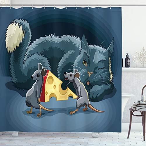 ABAKUHAUS Katz '& Maus Duschvorhang, Mäuse Käse & eine Katze, Bakterie Schimmel Resistent inkl. 12 Haken Waschbar Stilvoller Digitaldruck, 175x220 cm, Mehrfarbig