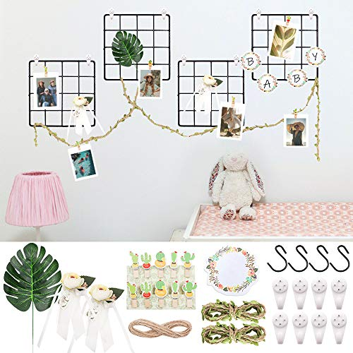 SNAILGARDEN 4 Pack Grid Meshes,Multifunctional Wall Mounted Grid Wire Display Panel,with Cactus Wood Clips,Garland Sticky Note,Artificial Monstera Leaf and Flower