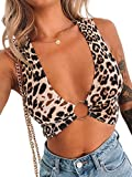 Crop Tops for Women Plunging Neckline Crop Top with Silver Ring Centrepiece (M, Leopard Print Crop top)