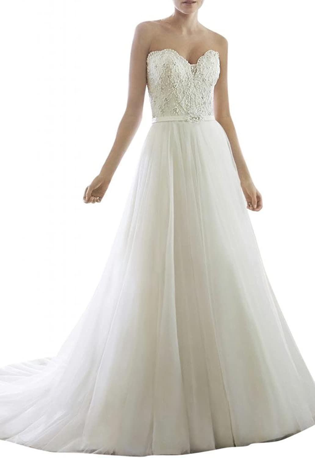 Angel Bride 2015 Ivory ALine Sweetheart Floor Length Lace Bridal Gowns Long
