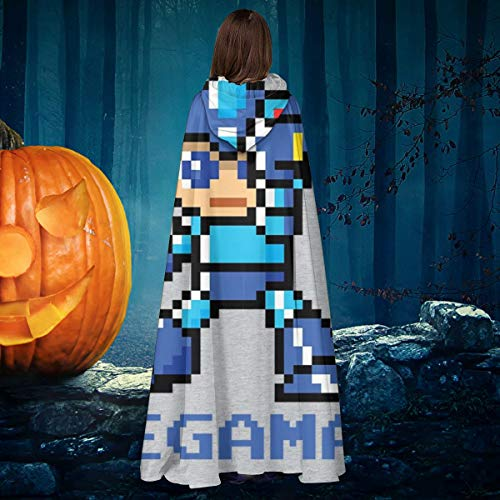 AISFGBJ Megaman Pixel Character - Disfraz de caballero de bruja con capucha para disfraz de vampiros