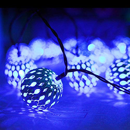 Moroccan Ball Solar String Light, Iron Metal Bal Waterproof Solar Fairy String Lights Outdoor, Wedding Christmas Holiday Party Garden Halloween Decoration,WarmWhite aycpg (Color : Blue)