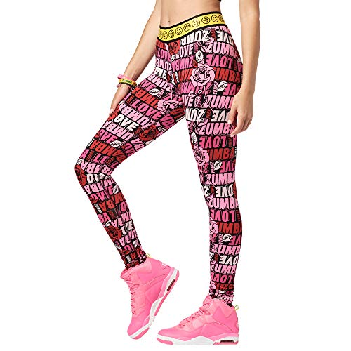 Zumba Dance Fitness Basic Compression Athletic Workout Leggings for Women, Rosa impactante 0, M para Mujer