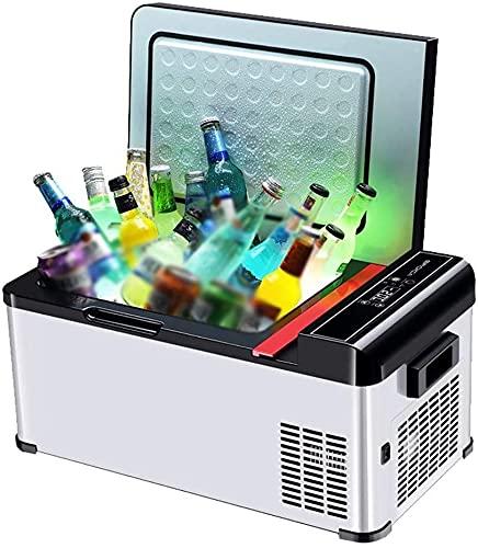 TANKKWEQ Nevera portátil refrigerador compacto mini refrigerador compacto refrigerador eléctrico y calentador para coche y hogar 18L coche tor con 12v/24v, mano de bloqueo automático