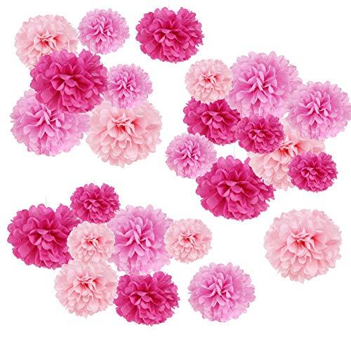SUNBEAUTY Pompon Papier de Soie Rose Fuchsia Boule Fleur pour Mariage Anniversaire Chambre Fille Bapteme Baby Shower 27pcs
