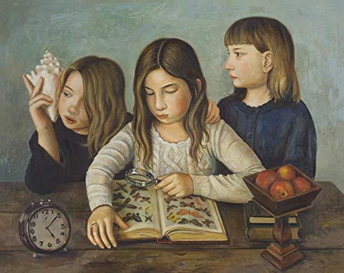 Pintura por Números para Adultos y niños Pintar Diy al óleo de Bricolaje 40X50CM Chica Estudiando Naturaleza Personas Retratos Reloj Fruta Bodegón con Marco Pinceles Principiantes Hogar Lienzo