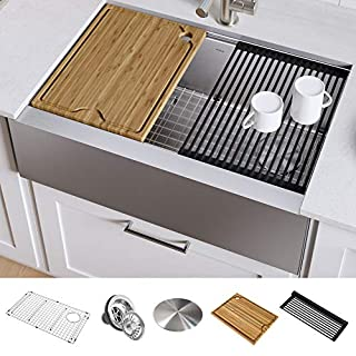 KRAUS KWF410-33 Kore Workstation 33-inch Farmhouse Flat Apron Front 16 Gauge Single Bowl Stainless Steel Kitchen Sink with Integrated Ledge and Accessories (B07SBHNT2R)   Amazon price tracker / tracking, Amazon price history charts, Amazon price watches, Amazon price drop alerts