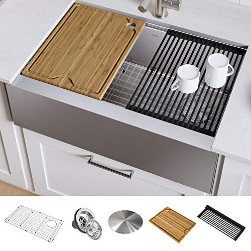 KRAUS KWF410-33 Kore Flat Apron Front 16 Gauge Stainless Steel Farmhouse Kitchen Sink