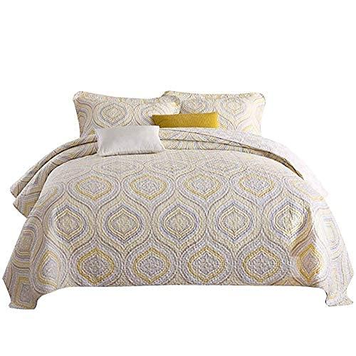 Colcha impresa Throw Ropa de cama de 3 piezas Doble King Size Multifunción Edredón acolchado ligero / Funda de cama Colcha / sábanas de algodón suave antideslizante (230x250cm) Con 2 fundas de almohad