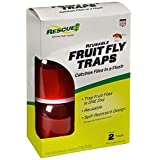 RESCUE! Fruit Fly Trap with Liquid Attractant – 2 Pack