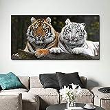 sanzangtang Pintura sin Marco Moderno Animal Mural sobre Lienzo Dos Tigres Lindos decoración del hogar ZGQ2057 60X120cm