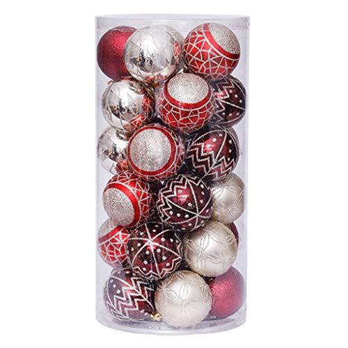 SUCHUANGUANG 1 Set 6 cm / 30 Stück Weihnachtskugeln Ornamente Party Hochzeit Weihnachtsbaum hängen Dekor hängen Anhänger RGD