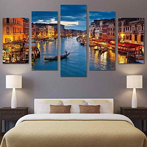 IKDBMUE Lienzo de Pared Art Imagen Canal de Venecia en la Noche para decoración del hogar de en 5 Piezas Pinturas Moderna Estirada y Enmarcado Arte Aceite