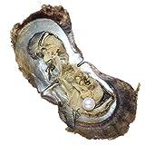 aaa, ostriche rotonde akoya con perla all'interno del mare, perle di conchiglia da 9 a 10 mm, idea regalo per donne, bianco