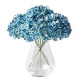 Kislohum Artificial Hydrangea Flowers Heads 10 Teal Hydrangea Silk Flowers Head for Wedding Centerpieces Bouquets DIY Floral Decor Home Decoration with Long Stems