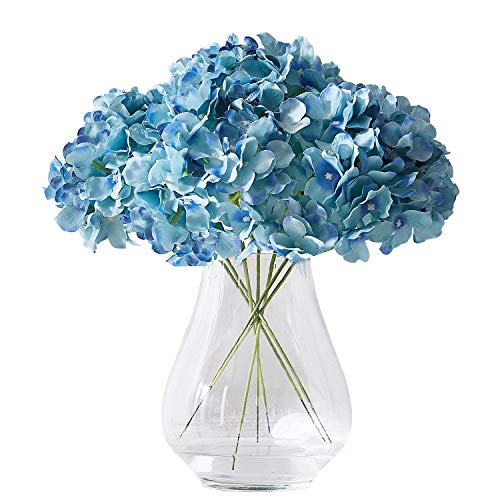 Kislohum Artificial Hydrangea Flowers Heads 10 Teal Hydrangea Silk Flowers Head for Wedding Centerpieces Bouquets DIY Floral Decor Home Decoration with Long Stems