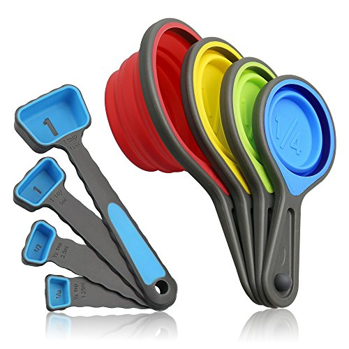 Leepiya Collapsible Silicon Measuring Cups and Spoons