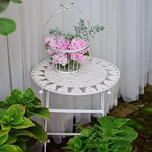 Cakunmik Metall Shabby Chic Tisch, Gartenmöbel Bügeleisen Runder Tisch, Garten-Terrasse Bistro-Tisch,Weiß