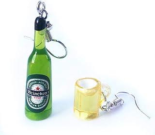 Manman Unika örhängen, mini söta ölflaska vinglas asymmetriska harts droppe örhängen mode smycken C