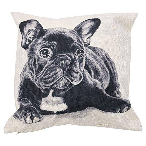 WOVELOT - Federa per cuscino per divano, motivo: bulldog francese, colore: grigio scuro