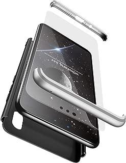BESTCASESKIN Funda Xiaomi Mi A2, Carcasa Móvil de Protección de 360° 3 en 1 Desmontable con HD Protector de Pantalla Carcasa Caso Case Cover para Xiaomi Mi A2 (Plata Negro)
