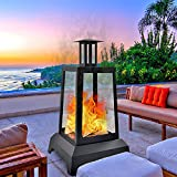 NSdirect Large Fire Pit Steel Wood Burning Outdoor Fireplace Tower 44' High Big Patio Firepits with Mesh Screen Cover, for Backyard, Garden, Beach, Camping, Heating, Bonfire and Picnic