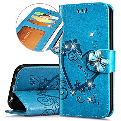 Coque Compatible avec Samsung Galaxy Note 8 Étui Cuir L'amour Papillon Embosser PU Flip Pochette Housse Portefeuille Impression Clapet Folio Case Fentes Cartes Fonction Support Protection Bumper,Bleu