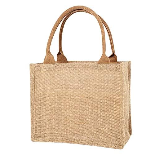 LMIX Bolsa portátil de yute natural, bolsa de la compra de yute reutilizable, bolsa para compras y pícnic, bolsa de almacenamiento de yute, bolsa de tela gruesa vintage, lino ecológico