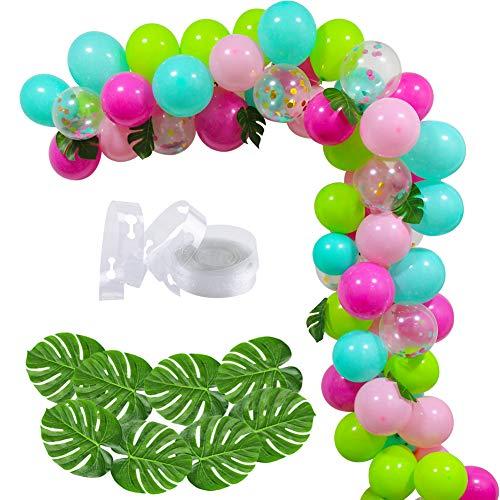 Blue Green Pink Confetti Balloons Garland Arch Kit Hawaii Flamingo Tropical Theme Balloons Garland
