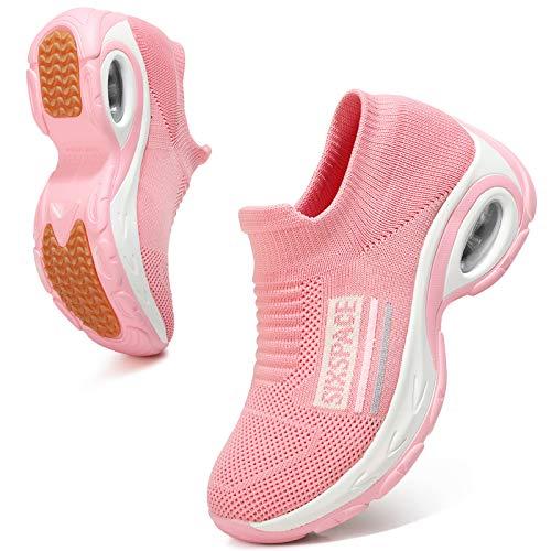 Sixspace Damen Sneaker Turnschuhe Atmungsaktiv Laufschuhe Leichtgewichts Walkingschuhe Sportschuhe Freizeitschuhe Straßenlaufschuhe Trainer für Outdoor Fitness Gym(Pink,38 EU)