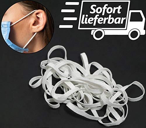 Kolor-Knajp 20 Meter Gummiband Weiß Gummilitze Wäscheband Gummizug Flachgummi Ideal für Masken 0,5 cm