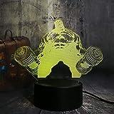 Ilusión Óptica 3D Luz Nocturna Luz Led Mancuerna Gigante 7 Colores Interruptor Táctil,Luz Del Estado De Ánimo Para Niños Lámpara De Mesa De Cabecera Remota Regalo De Cumpleaños Para Niños
