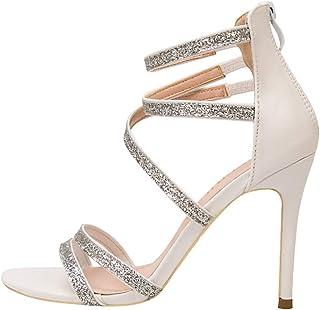 Women's Stiletto Sandals, Heel High 10Cm Sequin Ankle Strap Zipper Non-Abrasive Feet Round Toe Open Pump Sandals Suitable for Daily Banquet Wear