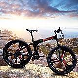 24 inch Folding Mountain Bike for Men/Women 21 Speed Adults Bicycle Dual Disc Brake Shock Absorber Front Suspension Fork, 3 Knife Wheel (Black)