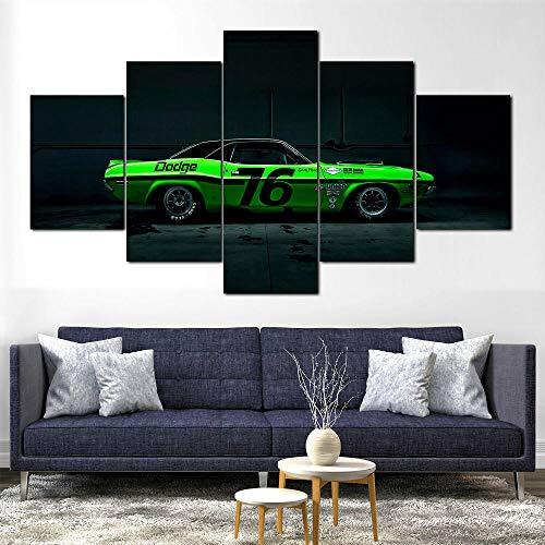 SHENQI-5 Piezas Cuadro sobre Lienzo- Póster Challenger Racing Wall Art -Lienzo Impresión Cuadros Decor Salon para Dormitorios Modernos Mural Pared Listo para Colgar