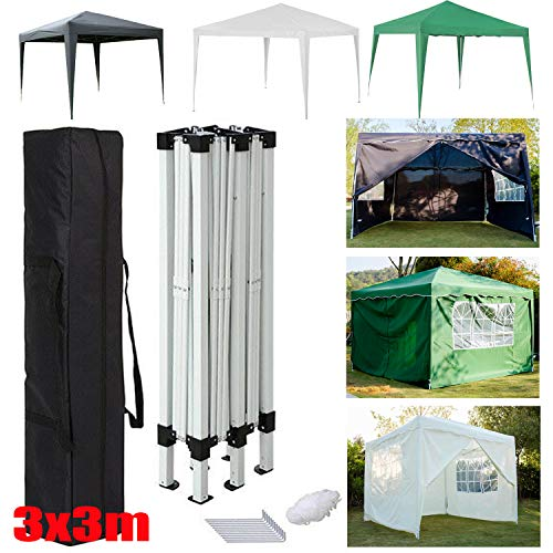 Pop Up Gazebo with Sides 3x3m Heavy Duty - Outdoor Folding Canopy, Garden Backyard Patio Marquee Awning Shelter for Party Wedding Commercial Grade Market Stall + Handbag, Beige