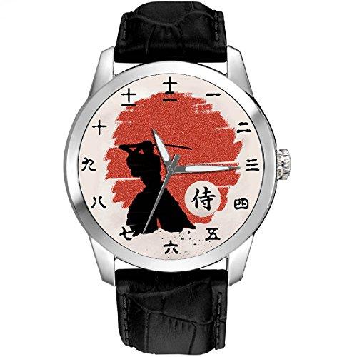 Kenjutsu, mittelalterlicher Samurai-Druck, japanisches Kanji-Zifferblatt, symbolisches Purpurrot, aufgehende Sonne, Pergament, Kunst, Sammlerstück, Armbanduhr