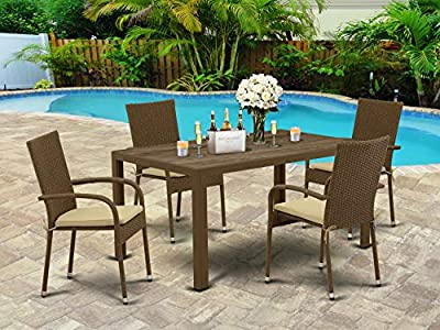 East West Furniture JUGU502A 5Pc Outdoor Brown Wicker Dining Set Includes a Patio Table and 4 Balcony Backyard Armchair with Linen Fabric Cushion