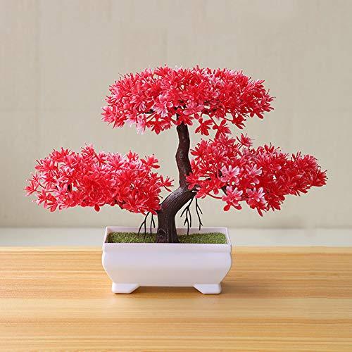 Gemini_mall Artificial Bonsai Cedar, Welcoming Pine Emulate Bonsai Simulation Decorative Artificial Flowers Fake Green Pot Plants Ornaments Home Decor Red
