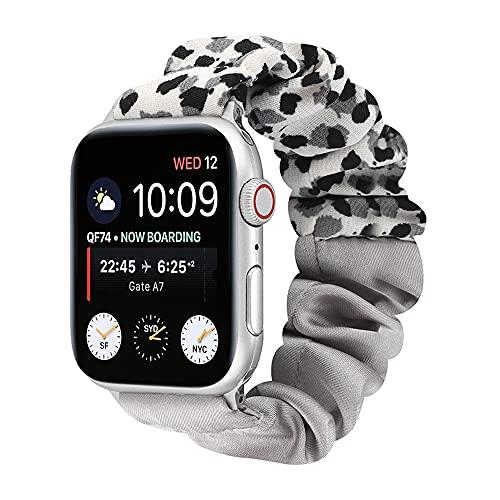CHENPENG Correa Scrunchies Compatible con Apple Watch Pulsera de Tela Suave y elástica Patrón de Correa Correa de Tela elástica Estampada con Lazo,A,42MM