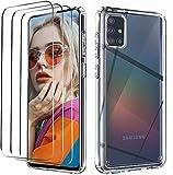 NUDGE Funda para Samsung Galaxy A51 con 3 Piezas Cristal Templado,Carcasa Protectora de Silicona TPU Transparente de Alta Gama, Parte Trasera Rígida para PC, Case con Airbag de Cuatro Esquinas