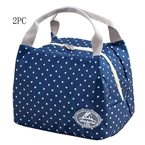 99native 2 Stück Lunch Tasche, Kühltasche Lunch Bag, Thermotasche Isoliertasche, Picknicktasche Mittagessen Tasche, Wasserdicht für Arbeit, Schule (Blau)